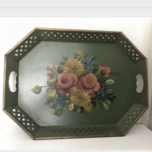 VTG Floral Metal Tray Gold Trim Toleware Tray